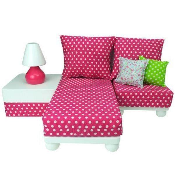 18 Inch Doll Furniture Play Set: White Chaise, Chair, Ottoman, Lamp, Hot Pink/White Polka Dot Cushions, 2 Pillows. Perfect for 18