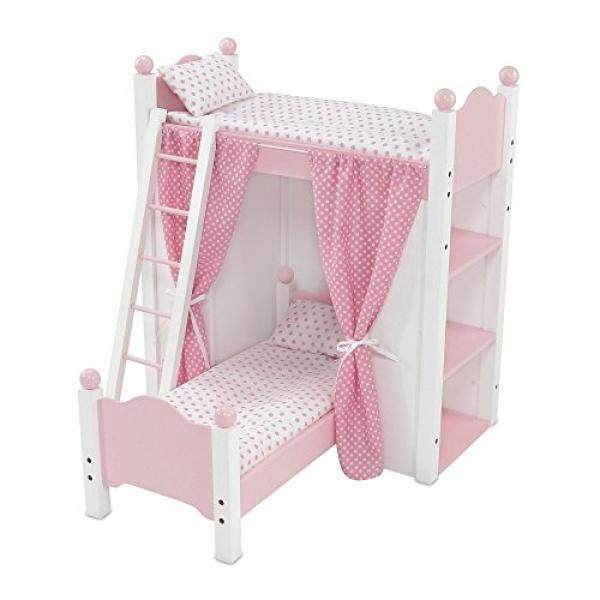 18 Inch Doll Furniture White Loft Bunk Bed with Shelving Units and Angled Single Bed, Includes Ladder, Lovely Pink and White Polka Dot Bedding and Coordinating Curtains Fits American Girl Dolls - intl
