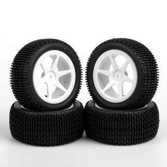 4pcs RC Buggy Car 1:10 Off-Road Front & Rear Tyre Rubber TiresWheels Rims