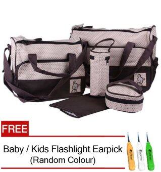 5 in 1 Mummy Essential Diaper Bag (Brown) FREE Baby / Kids Flashlight Earpick