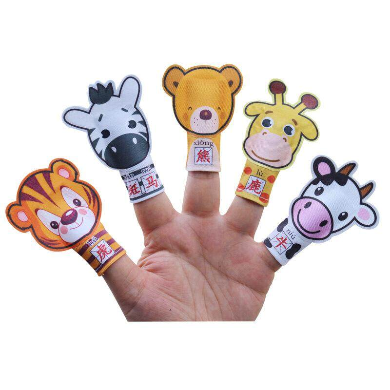 Accidentally the happy child finger toy figurine in baby shop animal finger finger toy figurine of one family takes to know a word to pronounce English attraction a baby to imitate to tell the story toy animal style one 5 sets - intl