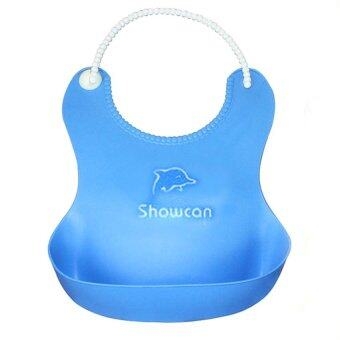 Baby Infants Kids Cute Silicone Bibs (Blue)
