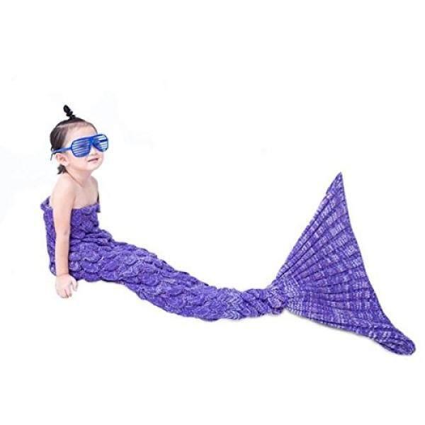 Becoler Putri Duyung Ekor Knitted Merenda Selimut Anak, pola Skala Ikan Mermaid Selimut Super Hangat dan Lembut Semua Seasons Sofa Tempat Tidur Selimut Tidur Hadiah Natal Yang Bagus 55 oleh 27.5 Inch-Internasional