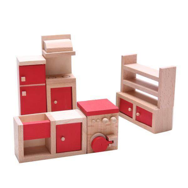 BolehDeals Dollhouse Miniature Wooden Furniture Decoration Red Kitchen Set Kids Toys - intl