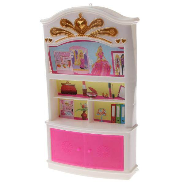 BolehDeals White & Pink Display Cabinet / Wardrobe Bedroom Furniture for Barbie Dolls - intl