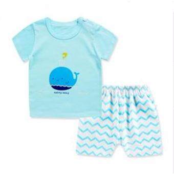 Children's Cotton Short Sleeve T-shirt Boys and Girls T-Shirts Baby Short Sleeve Shorts Two Pieces Set