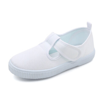 Children's nursery small white shoes dance performances canvasshoes flat non-slip soft bottom student white shoes campus shoes