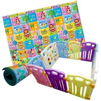 Coby Fence Baby Play Yard 8+2 (10 Panels) 3RB Bear+ PE OneSideLiving Baby Play Mat Hello Bear (Package) Multicolor