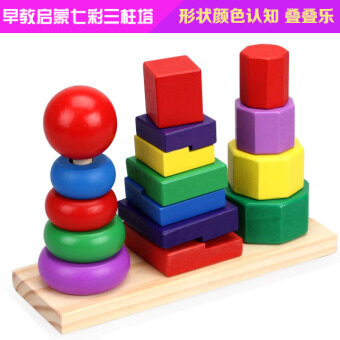 Colorful three column tower rainbow tower sets building blocksrings of stacked combination Children's Early Childhood Yi Zhiwooden toys 1