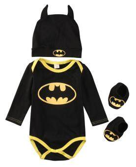 Cute Newborn Baby Boys Infant Rompers+Shoes+Hat 3Pcs Outfit ClothesSet Long Sleeve 0-24M (0-6 Months)