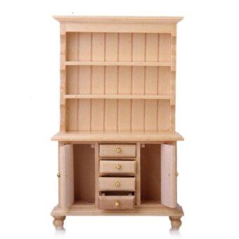 Miniatur Rumah Boneka 1/12 Furniture Grand Kabinet Lemari Kayu Burlywood-Internasional