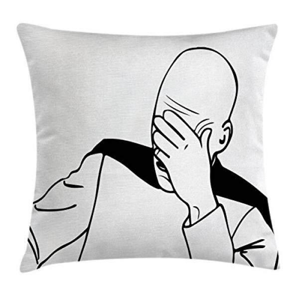Humor Dekor Bantal Bantal Bantal Sarung Oleh Ambesonne, kapten Picard Wajah Telapak Troll Guy Meme Caption Super Menyenangkan Online Gambar-gambar Dekoratif Persegi Accent Case, 16X16 Inci, HITAM PUTIH-Internasional