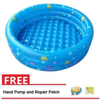 Intime Inflatable Round Swimming Pool 130x42CM (Blue) + Free Hand Pump and Repair Patch