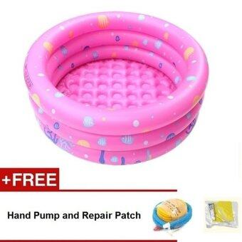 Intime Inflatable Round Swimming Pool 130x42CM (Pink) + Hand Pumpand Repair Patch