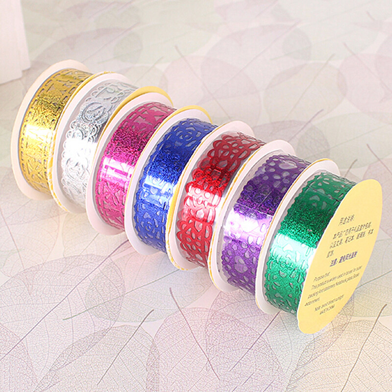 Hình ảnh Lace Roll DIY Washi Decorative Sticky Ribbon Masking Tape Self Adhesive Blue - intl