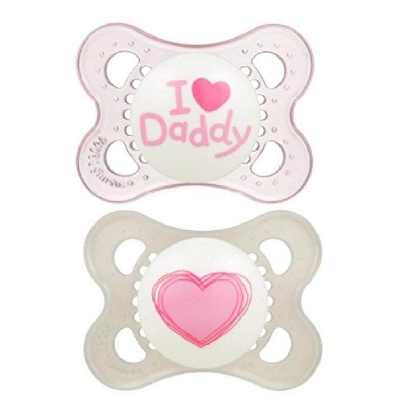 MAM Love & Affection Orthodontic Pacifier, I Love Daddy, Girl, 0-6 Months, 2-Count - intl Singapore