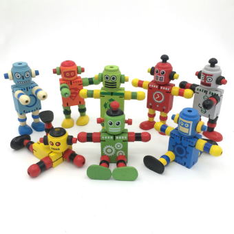 Montessori wooden robot action figure educational kids toy