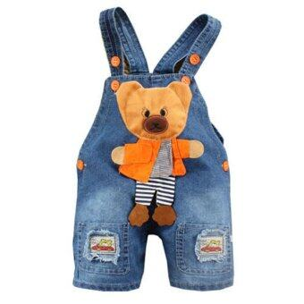 Newborn Baby Girls Boys Denim Jeans One-Pieces Bear RompersPlaysuits Clothes