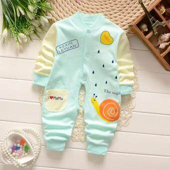Newborn Cotton Baby Boys Girls Green Snail Clothes Baby Rompers Long Sleeve Body Suits Jumpsuits