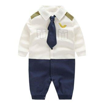 Newborn Cotton Baby Boys Pilot Uniform Clothes Baby Rompers Long Sleeve Body Suits Jumpsuits