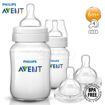Philips Avent Classic Plus Anti Colic 1m+ 260ml/9oz (Twin Pack) -SCF563/27 + Philips Avent Fast Flow Teat 6m+ (4 Hole) TwinPack-SCF634/27