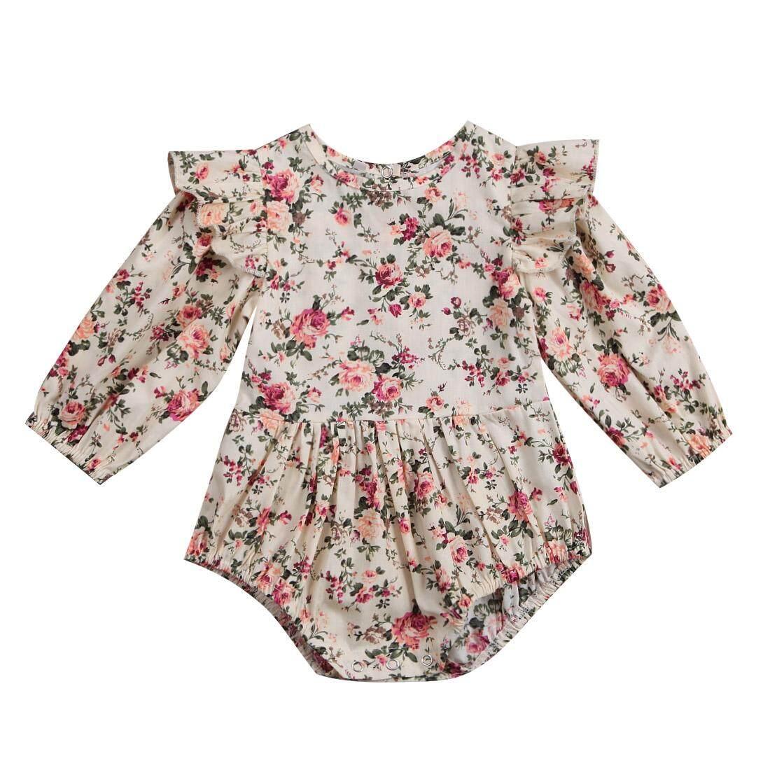 Balita Cantik Bayi Perempuan Bunga Baju Romper Pakaian Bermain Jumpsuit Pakaian-Internasional