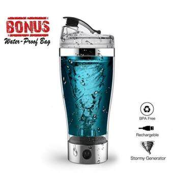 Protein Shaker Bottle, USB Rechargeable Portable 16 Ounce Vortex Mixer Blender Bottle for Powder Shake, Electric Hurricane Shaker Cup Self Stirring Mug for Various Powder with Waterproof Bag