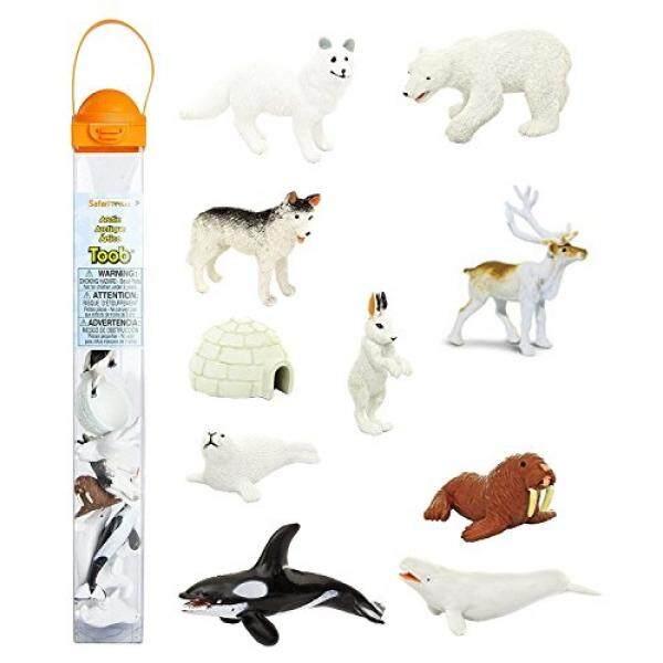 Safari Ltd Arktik Toob dengan 10 Fun Figurines, Termasuk Segel Harp, Husky, Caribou, arktik Rabbit, Paus Pembunuh, Walrus, Arktik Rubah, Paus Beluga, Igloo, dan Beruang Kutub-untuk Usia 3 dan Ke Atas-Internasional