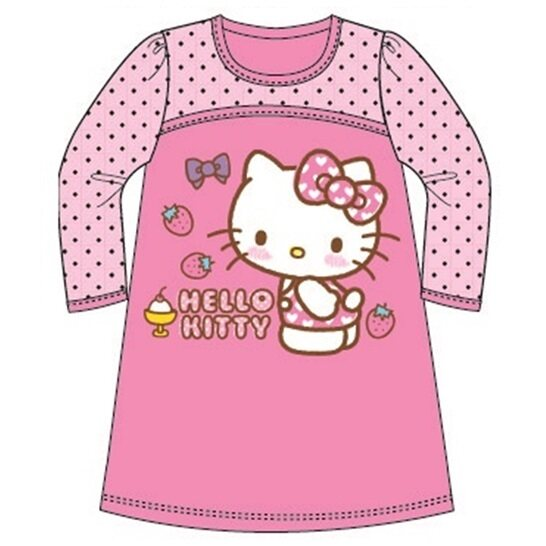 Sanrio Hello Kitty Long Sleeve Dress 100% Cotton 1yrs to 5yrs - Pink Colour