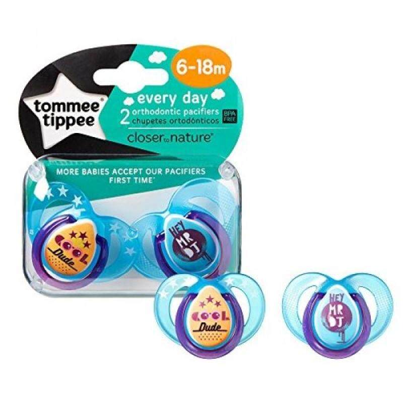 Tommee Tippee Closer To Nature Everyday Pacifier, Blue, 6-onths, 2 Count - intl Singapore