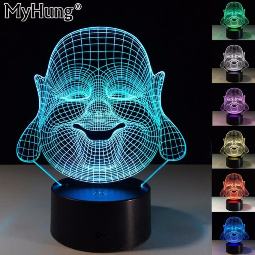 Unusual Birthday Gifts Maitreya Buddha 3D fantasy LED Night Light 7Colors Table Lamp Party Decoration Novelty Lighting Color ChangingUSB Smart Touch Switch