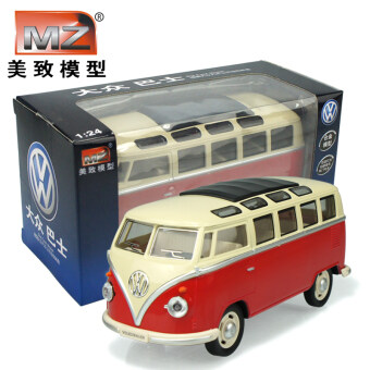 US cause 1:24 Volkswagen bus classic bus car bus model alloy sound and light Warrior children's toys