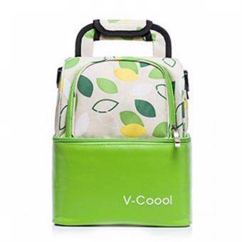 V-COOL GREEN AND WHITE DOUBLE COMPARTMENT COOLER BAG