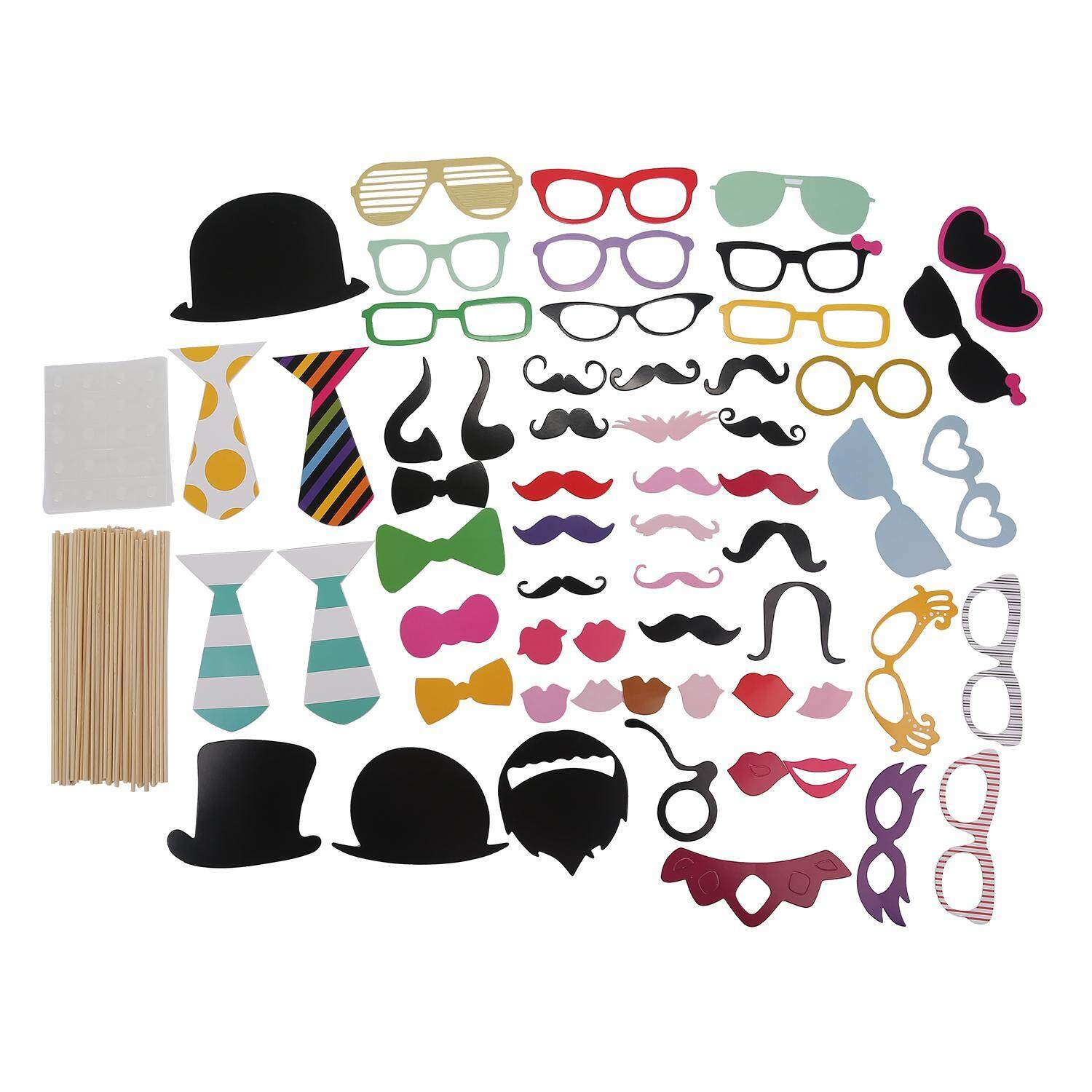 xiuya Photo Booth Props DIY Kit For Halloween Christmas Wedding Birthday Graduation Party,Photobooth Dress-up Accessories Party Favors,58 Set - intl