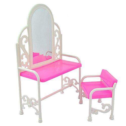 Yiding Fashion Dressing Table And Chair Set For Barbies Dolls Bedroom Furniture - intl