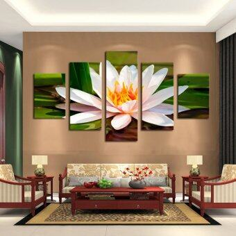 5 pieces white flowers modern home wall decor canvas for Home decoration pieces