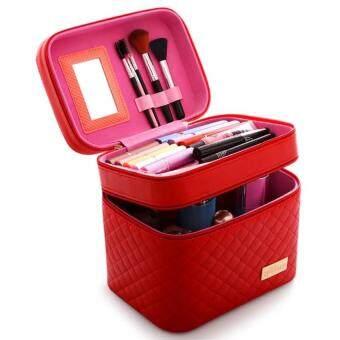 119-MZ 2 Lapisan PU Kulit Tas Kosmetik Kotak Penyimpanan Membuat Hingga Profesional Riasan Tas-Merah Official Produk Asli -Internasional