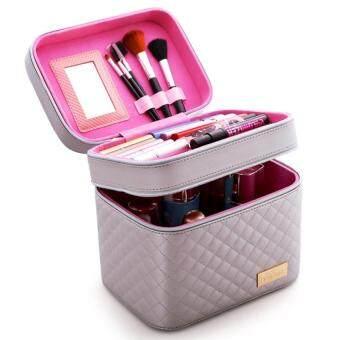 119-MZ 2 Lapisan PU Kulit Tas Kosmetik Kotak Penyimpanan Membuat Hingga Tas Riasan Profesional-Sliver Resmi Produk Asli -Internasional