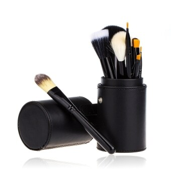 12 PCS Makeup Brush Set Cosmetic Brushes Make up Tool + Cup LeatherHolder Case Black