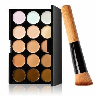 15 Colors Face Cream Makeup Concealer Palette Foundation CreamWithPowder Brush Set
