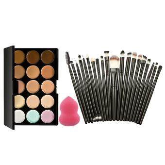 15 Colors Makeup Concealer Palette + Sponge Puff + 20PcsBrushes(Black)