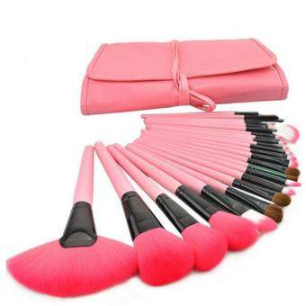 24 Pcs High Quality Professional Cosmetic Makeup Brush Set With Pouch Bag (Pink)