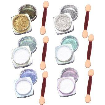 6 Pcs 1g Nail Art Mirror Glitter Shinning Nail Chrome PigmentPowder Nail Art Tools with Sponge Stick
