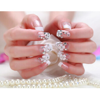 DIY 24pcs/set Fashion Bling French Style False Nails with Glue ArtTips Nail Art Nail Decal Crystal Glass Rhinestones for Nails NailArt Decoration