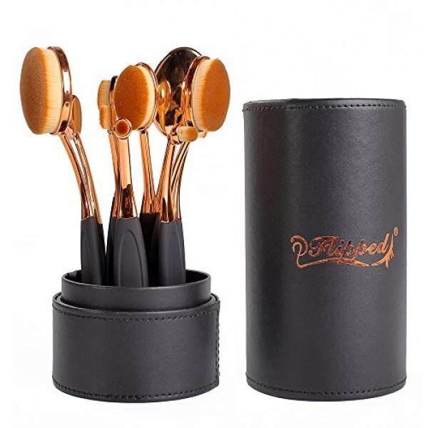 Dibalik Lonjong Riasan Brushes Set Desain Baru 10 Pcs Mawar Emas Sikat Gigi Riasan Brushes untuk Foundation Concealer Contour Tersipu Malu eyeshadow Mudah untuk Pemula-Internasional