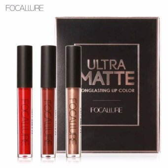 FOCALURE 3Pcs Long-lasting Lip Colors Makeup Waterproof Tint LipGloss Red Velvet Ultra Nude Matte Lipstick Colourful