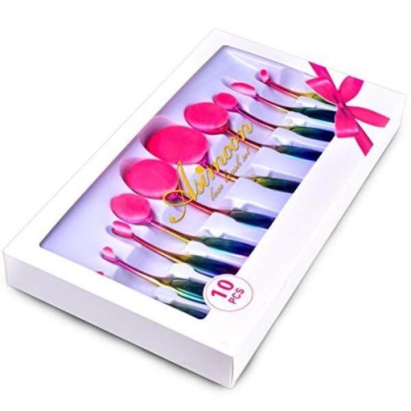 Lonjong Riasan Kuas Set-Asimoon 10 Piece Lonjong Brushes untuk Pemula atau Riasan ARTIST-Multi-fungsional serat Lembut Riasan Brushes Perlengkapan untuk Bedak, tersipu Malu, Foundation, Concealer-Internasional