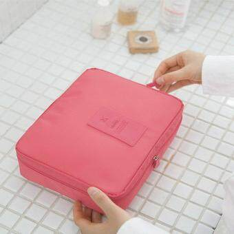 Portable Toiletry Cosmetic Bag Waterproof Makeup Make Up Wash Organizer Storage Pouch Travel Kit Handbag (Watermelon Red)
