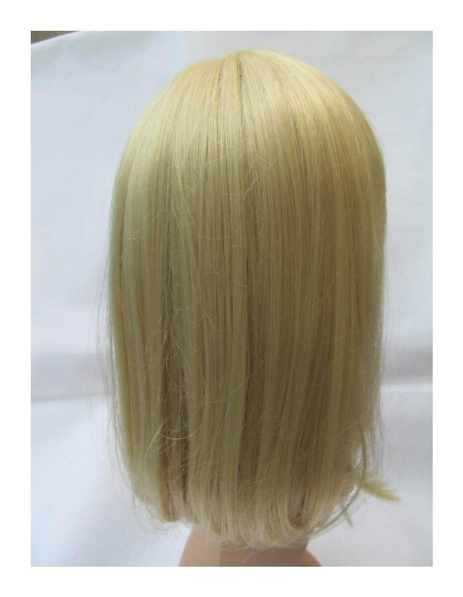 Kualitas Panjang Blonde Ladies Bob Square Cut Wig dengan Fringe Sintetis Jepang Serat 40 Cm Panjang, Rambut Rontok, Alopecia, Dll-diposting dari London Oleh Fat-catz-Intl