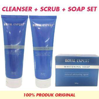 Royal Expert - Facial Cleanser 100g + Facial Scrub 100g + Whitening Soap 50g - SET